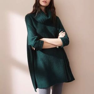 Lou and Grey LOFT Green Tunic Sweater Cowl Neck